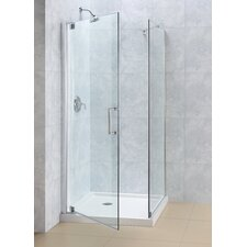 "Elegance 34"" by 34"" Frameless Pivot Shower Enclosure, Clear 3/8"" Glass Shower"