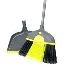 Height Adjustable Broom with Dustpan