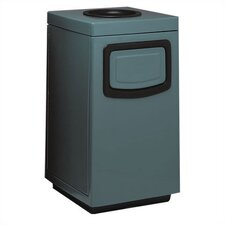 Side Entry Square 36-Gal Fiberglass Series Ash 'N Trash with Doors on Trash Opening and Side