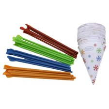 25 Pack 6 Oz. Snow Cone Cups & Spoon Straws
