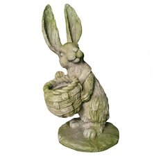 Garden Décor Sam Rabbit with Basket Statue