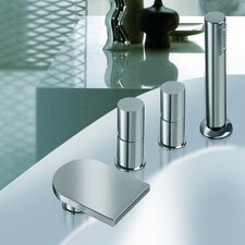 Italia Double Handle Deck Mounted Tub Filler Faucet with Hand Shower