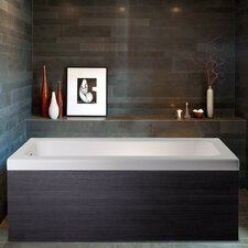 "Pure 1D 67"" x 31.5"" Aquatica Back To Wall Stone Bathtub with Dark Decorative Wooden Side Panels"
