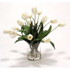 Waterlook Silk Tulips in Glass Cylinder Vase