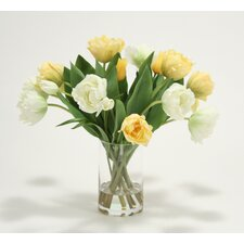 Waterlook Mixed Tulips in Tall Glass Cylinder Vase