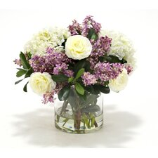 Waterlook Hydrangeas and Lilacs with Greenery in Cylinder Vase
