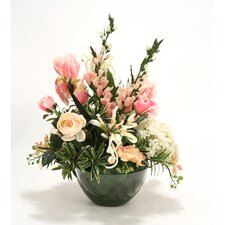 Mixed Garden Floral in Round Glass Bowl
