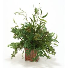 Mixed Silk Tree Foliage Desk Top Plant in Vase