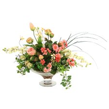 Silk Roses, DelphIniums and Tulip Buds in Glass Compote