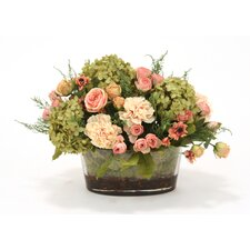Silk Roses, Peonies and Hydrangeas in Oval Glass Bowl
