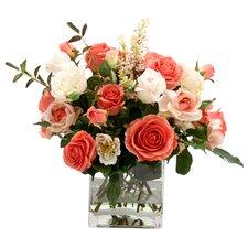 Waterlook Silk Rose Mixture in Glass Vase