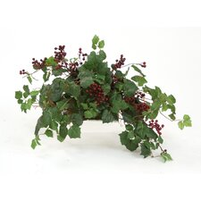 Topper with Silk Danica Ivy, Galax Leaves and Wild Berries on Tray Floor Plant in Planter