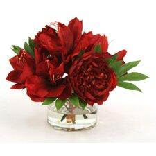 Waterlook Red Roses, Peonies, Amaryllises in Glass Cylinder