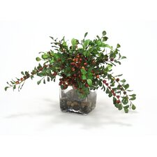 Waterlook Faux Berries with Silk Foliage in Vase