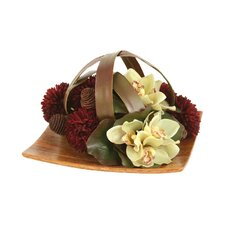 Silk Floral Mix Caged by Blades on Tray