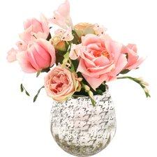 Waterlook Roses and Freesia in Mercury Glass