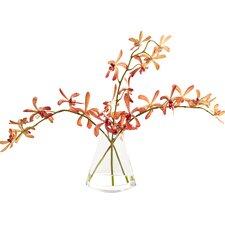 Waterlook Silk Vanda Orchids in Rocking Glass Vase