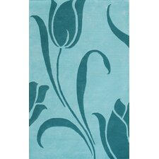 Floral Light Blue Area Rug