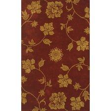 Floral Burgundy & Gold Area Rug