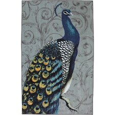 New Wave Peacock Feathers Gray Printed Area Rug