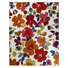 Strata Bright Floral Toss Multi Printed Area Rug