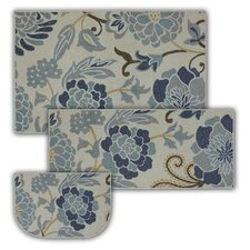 New Wave 3 Piece Power Flower Printed Area Rug Set