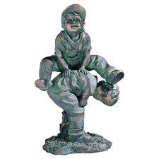 Leap Froggin Playing Boys Statue