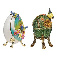 Decorative 2 Piece Springtime Faberge Enameled Eggs Set