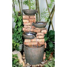 Stacked Bricks Cascading Garden Fountain with Light