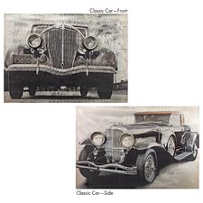 2 Piece On the Road Vintage Auto Painting Print Plaque
