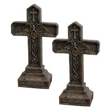 Balkan Vampire Blood Cross Statue (Set of 2)