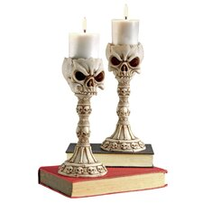 Skull and Bones Sculptural Candlestick (Set of 2)