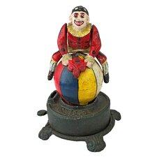 Authentic Spinning Acrobat Clown on Globe Mechanical Piggy Bank