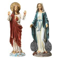 2 Piece Italian Style Devotional Art Jesus and Mary Statues