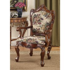 Emily Dickinson Floral Jacquard Fabric Arm Chair