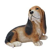 Basset Puppy Dog Figurine in Black and Brown