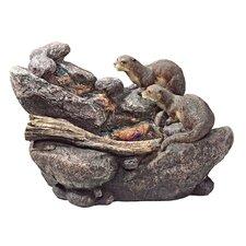 Resin Curious Sea Otters Garden Fountain