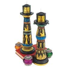 Temple of Luxor Sculptural Egyptian Candleholder Set (Set of 2)