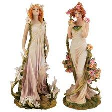 2 Piece Spring Flower Twins Figurine Set
