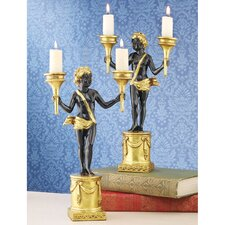 French Neoclassical Cherub 2 Piece Candlestick Set