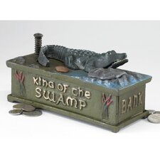 Authentic King of the Swamp Alligator Foundry Mechanical Piggy Bank