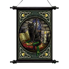 Cat and Books Canvas by Lisa Parker Wall Scroll Tapestry