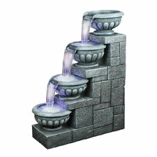 Resin Temple of Apollo Resin Cascading Fountain with Light