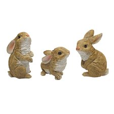 Garden Rabbit 3 Piece Statue Set