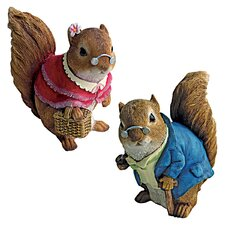 2 Piece Grandparent Squirrel Garden Statue Set