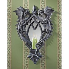 Double Trouble Gothic Dragon Mirrored Resin Candlestick Holder