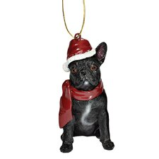 French Bulldog Holiday Dog Ornament Sculpture