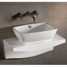Isabella Rectangular Wall Mount Vessel Sink with Overflow and Center Drain in White