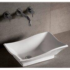 Isabella Rectangular Vessel Sink with Center Drain in White