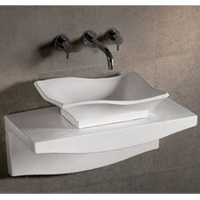 Isabella Rectangular Wall Mount Vessel Sink with Center Drain in White